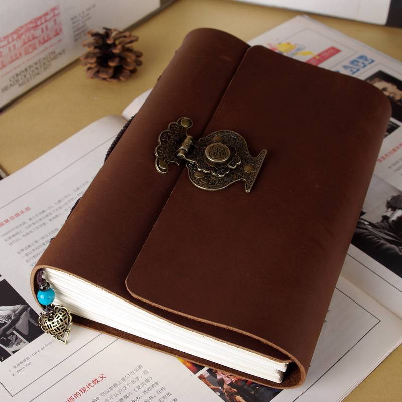 Blank Diaries Journals notebook note book genuine leather with lock thick 480 pages 0011003 blank diaries journals notebook note book genuine leather