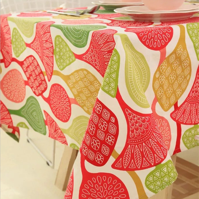 Gentil Tablecloths Tablecloths Cotton Geometric Abstract Tablecloths Color Coral  Leaves Christmas Tablecloths Coffee Table Cloth