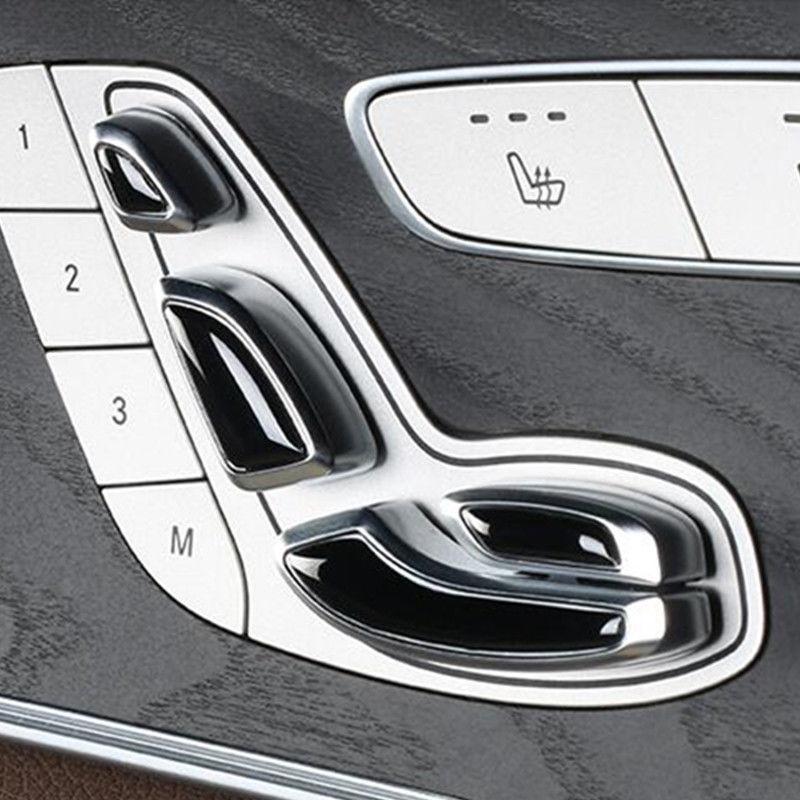 Car Seat Adjustment Buttons Decorative Sequins Frame Trim For Mercedes Benz E class E200 E300 W213 C class GLC 2016 2017 car accessories amg exhaust cover outputs pipe tail frame trim for mercedes benz glc a b e c class w205 coupe w213 w176 w246