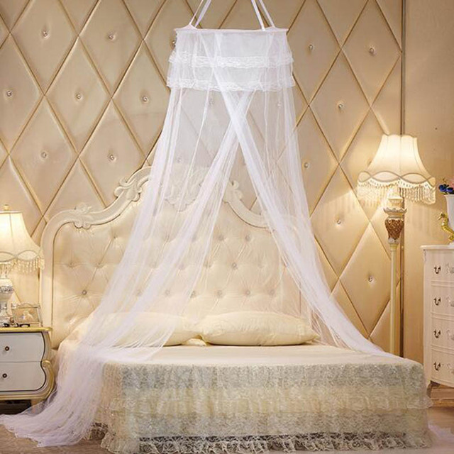 Palace Hung Dome Mosquito Net Curtains Bed Canopy Adults Circular Ciel De Lit Lace Princess