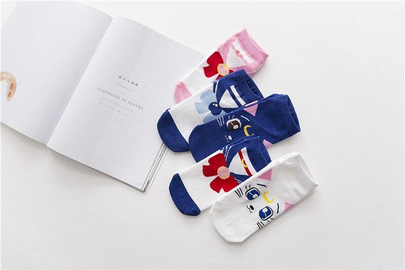 Anime Cartoon Girl Warrior Socks Sailor Moon Socks Cotton Products Women Lovely Luna Cat Cosplay Luna