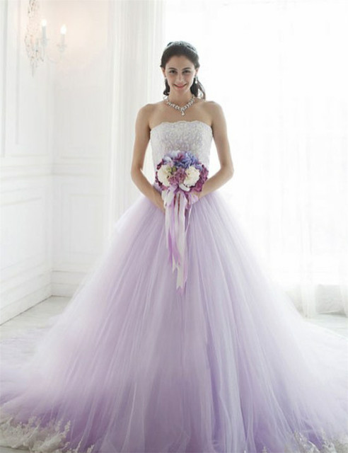 Cute Light Purple Strapless Crystal Beaded Lace Applique A Line Zipper Soft Tulle Wedding Dresses