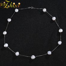ZHIXI настоящая жемчужина Цепочки и ожерелья подвеска 925 пробы серебряные украшения с жемчугом Натуральный камень кулон белый барокко 8-9 мм GiftX202
