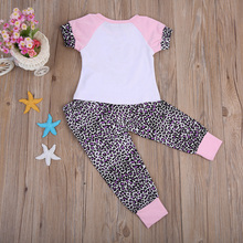 Baby Girls Big Little Sister Short Sleeve T-shirt Tops Leopard Pants Family Matching Outfits