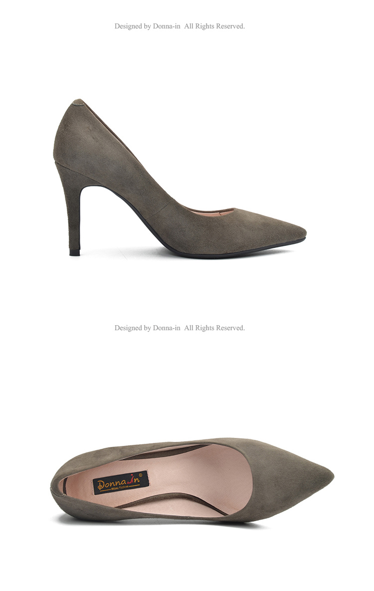 Donna-in 2017 New Style High heels pumps Natural suede leather Sexy Pointed Toe Office Singles Heeled woman Shoes 3255-1 (17)