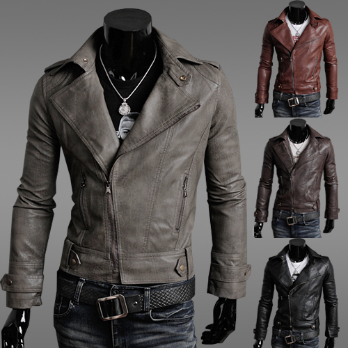 2017 Real Top Fasion Mandarin Collar Faux Leather Half Men's Clothing Motorcycle Leather Jacket Slim Male Fashionable Outerwear