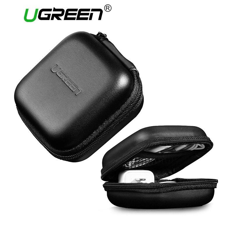 Ugreen Official Store Ugreen Headphone Case Bag Portable Earphone Earbuds Hard Box Storage for Memory Card USB Cable Organizer Mini Earphone Bag