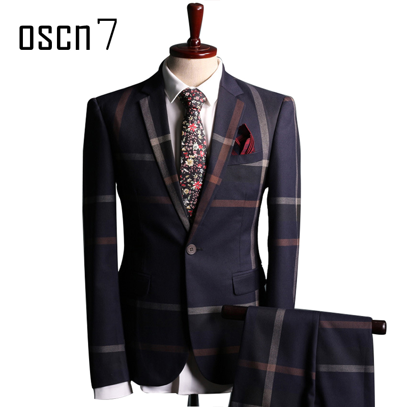 OSCN7 Navy Blue Slim Fit Plaid Suit Men Notch Lapel Business Formal Dress Suits For Men Fashion Terno Masculino Plus Size Suit