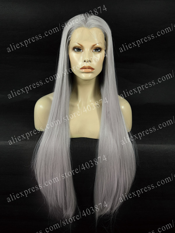 ФОТО Extra Long Straight Wig Dark Grey Wig Heat Resistant Synthetic Lace Front Wig Free Shipping