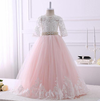 Real Picture White Lace Flower Girl Dress Long Pearls Ribbon Keyhole Lace up Back Tulle First Communion Gown Vestidos De Fiesta