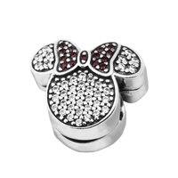 Fits Pandora Bracelet Christmas Minnie Mouse Ears Charm Clear CZ Original 925 Sterling silver jewelry DIY charm wholesale