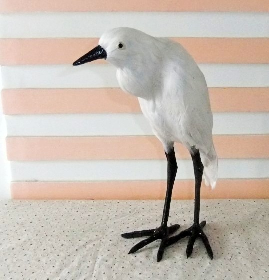 simulation feather Egret bird model 25X11X30CM toy polyethylene&furs Resin handicraft,Te ...