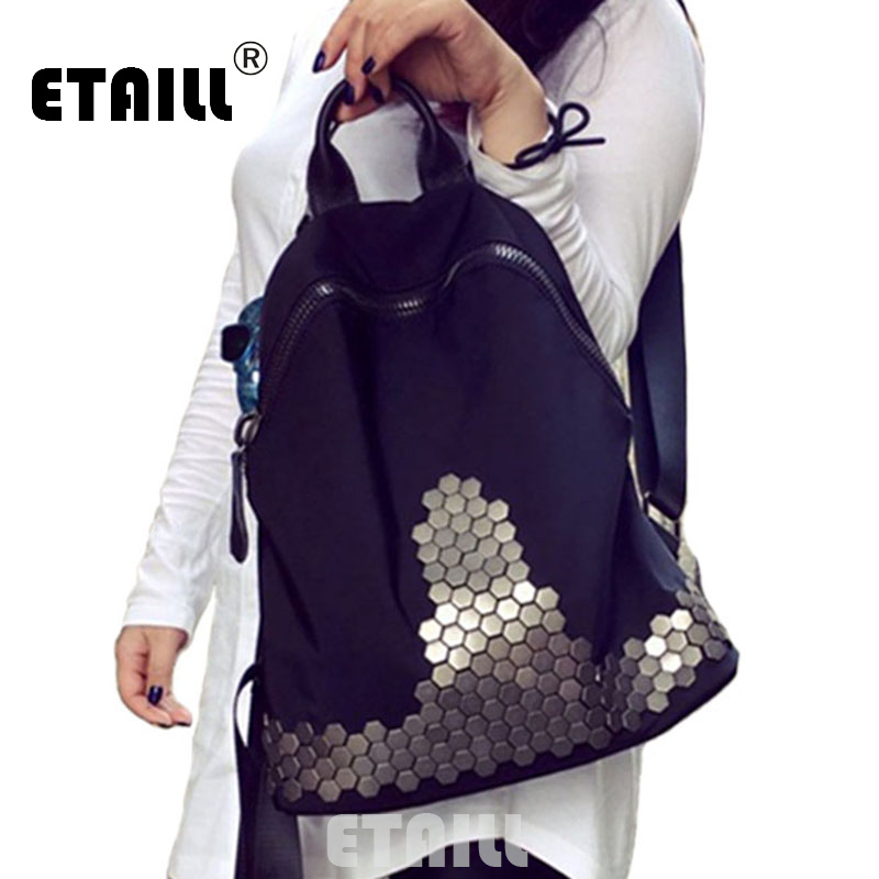 ФОТО Hot Black Studded Backpacks For Teenage Girls Rivet School Bags Waterproof Korean Women Travel Backpack Mochilas Sac a Dos Femme