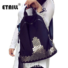Лидер продаж; черные шипованных рюкзаки для девочек-подростков заклепки школьные сумки Водонепроницаемый Корейская женская путешествия рюкзак Mochilas SAC DOS Femme