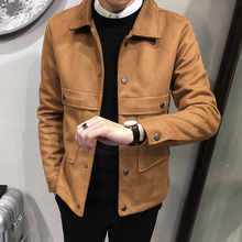 Осенне-зимняя новая модная красивая мужская кожаная куртка маленького размера, корейское производство tide Мужская однотонная верхняя одежда с длинными рукавами
