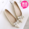 dipper shoes spring and autumn sweet bow flat small 33 pointed toe flat heel single shoes plus size women's shoes 41 - 43