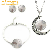 TAFREE Hedgehog In The Fog Moon Pendant Neaklace plays happily in the forest Bracelet Earring for children 2017 jewelry set H222