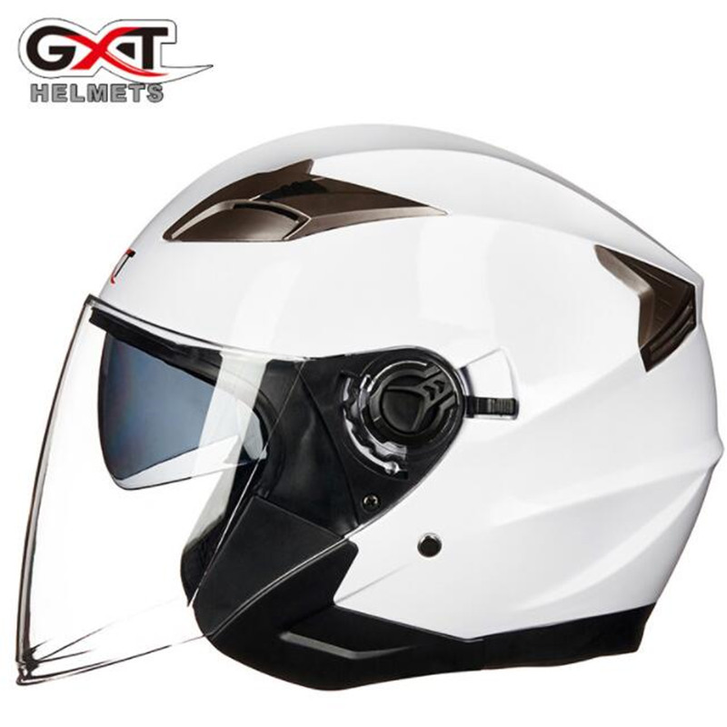 GXT femmes hommes Casque de Moto demi-visage ABS Casque de Moto électrique sécurité Double lentille Casque Moto Casque Casco Moto