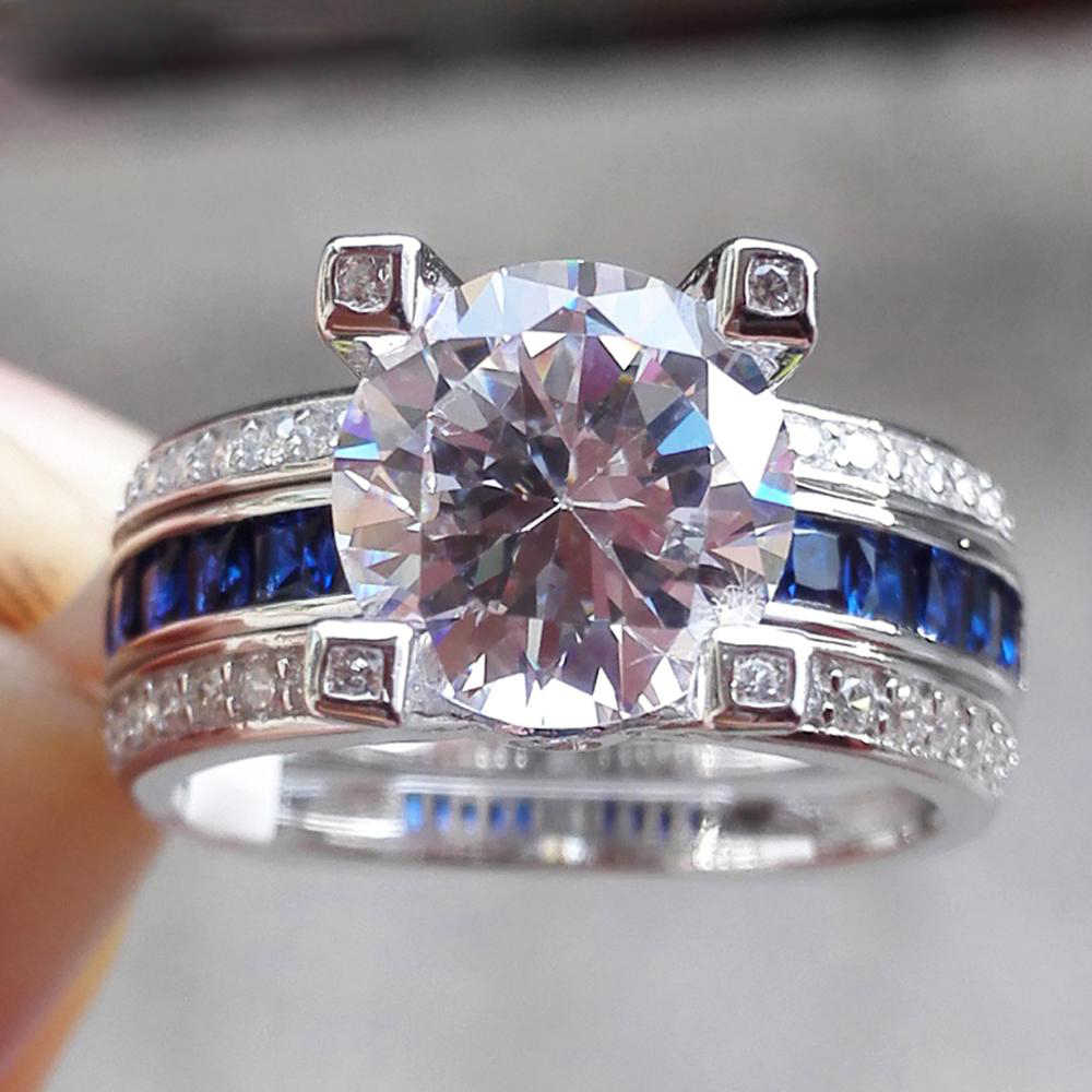2/pcs 925 anillos Silver Princess-cut Blue Topaz Wedding Ring Sets For Women Cubic Zirconia Engagement Band Fashion Jewelry