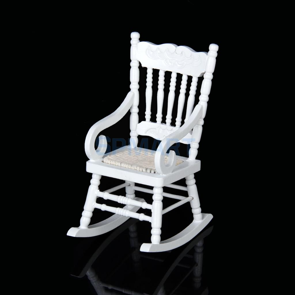 new brand new 112 dollhouse miniature wooden rocking chair model white free