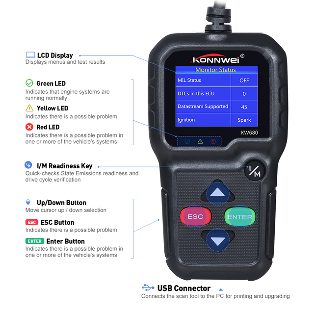 Hot sell Car Diagnosis Scanner KW680 Full OBD Function code reader OBDII Automotive Scanner In Portuguese obd2 diagnostic tool