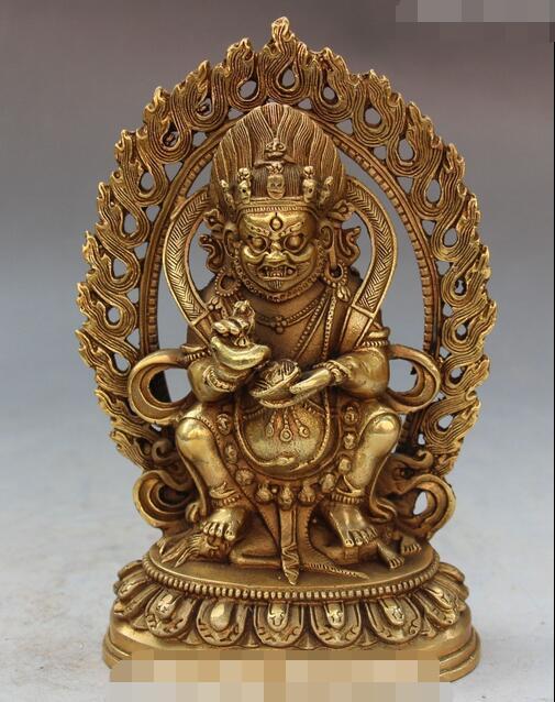 Chinese Tibet Buddhism Bronze Mahakala Wrathful Deity Buddha Backlight StatueChinese Tibet Buddhism Bronze Mahakala Wrathful Deity Buddha Backlight Statue