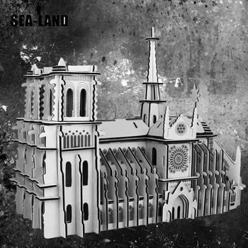3D Wooden Puzzle Toys The Notre Dame De Paris World Famous Buildings Toy Model High Quality Wood Gift For Children