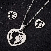 SMJEL Origami World Map Necklaces for Women Stainless Steel Simple Jewelry Geometric Heart Necklaces Earth Day Gift bijoux femme(China)