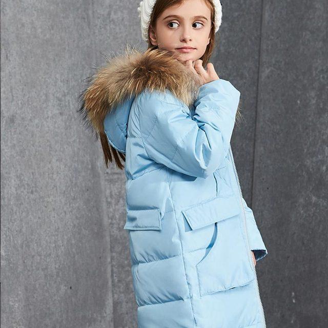 пуховик для девочки куртки для девочек Зимняя детская Пух куртка для девочки толстые белый длинный утка Пух зимняя куртка большой меховой воротник Теплая куртка детские пуховики и парки