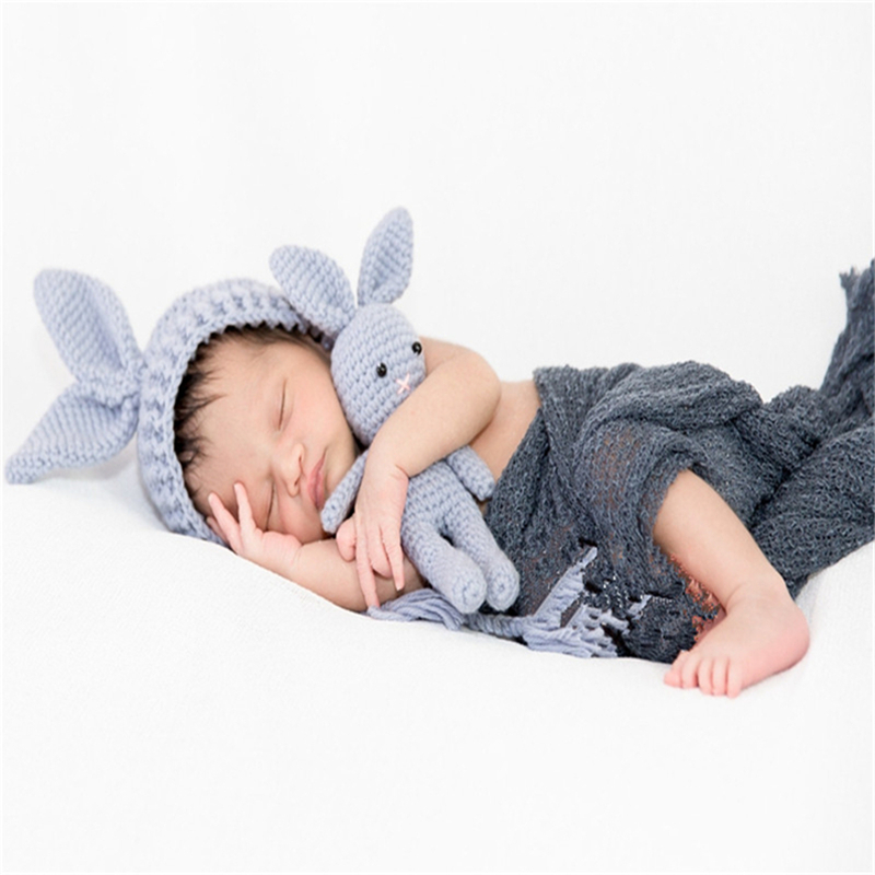 2018 Newborn baby photography props infant knit crochet costume soft outfits beanie+pants Bonnet Infant Costume Outfit Soft Warm