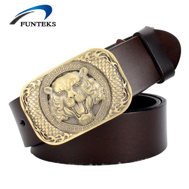 FUNTEKS Lion Head Alloy Buckle Genuine Leather Belt Men's Smooth Buckle Belts Men Fashion Designer Waistband Male Strap for Jean