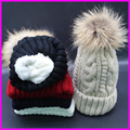 2016 Nuevo Invierno Mujeres Real del Mapache Sombrero de Piel Caliente Gruesa Lana De Punto Gorros Gorras Sombreros Rusos