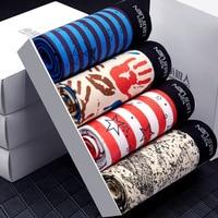 Mens 4Pcs\lot Underwear Soft Boxers Cotton Boxer Men Solid Boxer Shorts Male Plus Size Boxers Mens Underwear Lot 4 Pieces