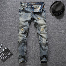 2018 Newly Fashion Mens Jeans High Quality Slim Fit Ripped Homme Italian Designer Brand Men Vintage Biker