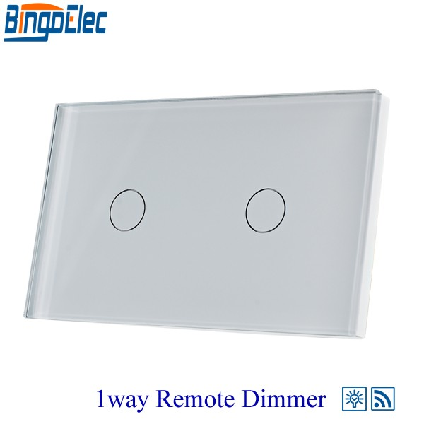 Hot sale AU/US Standard Bingoelec White Glass 2gang1way Remote Dimmer Switch, Dimmer Switch for Dimmable Lamp,Wall Light switch livolo remote switch with crystal glass panel wall light remote touch led indicator 3gang 1 way vl c503r 11 12 without remote