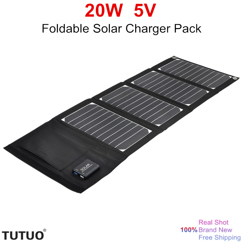 Tutuo New 20w 5v Foldable Solar Panel Pack Portable Dual