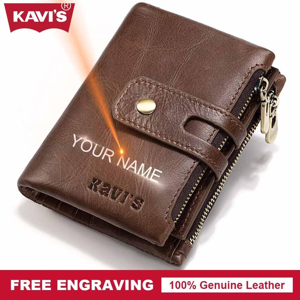 KAVIS Free Engraving Vintage Genuine Leather Wallet Men PORTFOLIO Gift Male Cudan Portomonee Perse Coin Purse