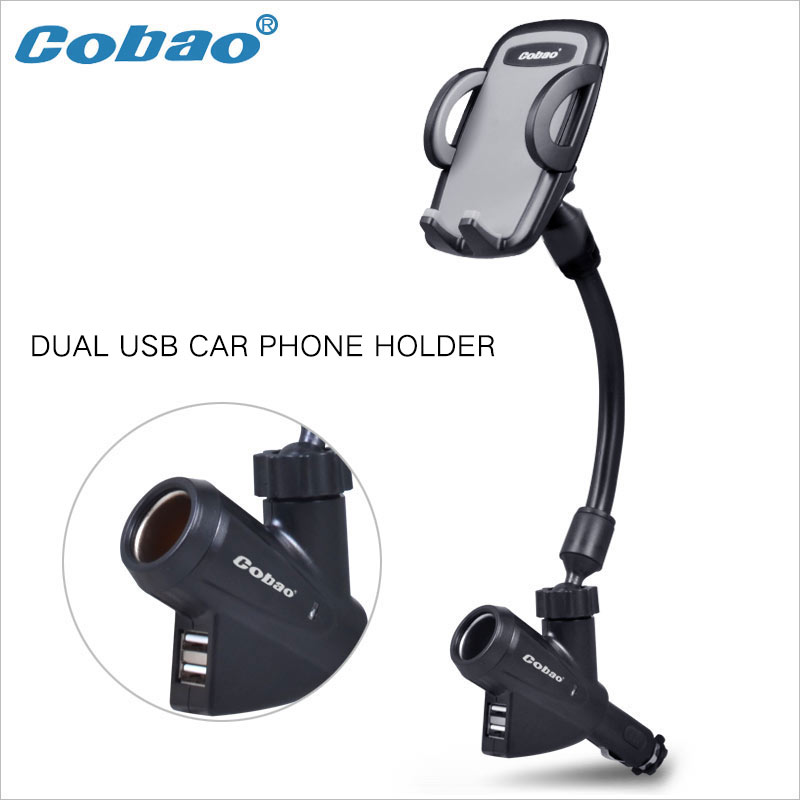 Car Mobile Cell Phone Mount Holder With Cigarette Lighter Socket 2 Charging USB Port Charger For