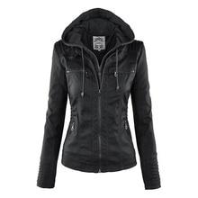 Женские толстовки черная верхняя одежда искусственная кожа PU куртка зарядное устройство Дата линия