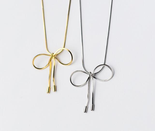1pc Hollow Butterfly knot / Bowknot medál Snakebone lánc nyaklánc - Finom ékszerek