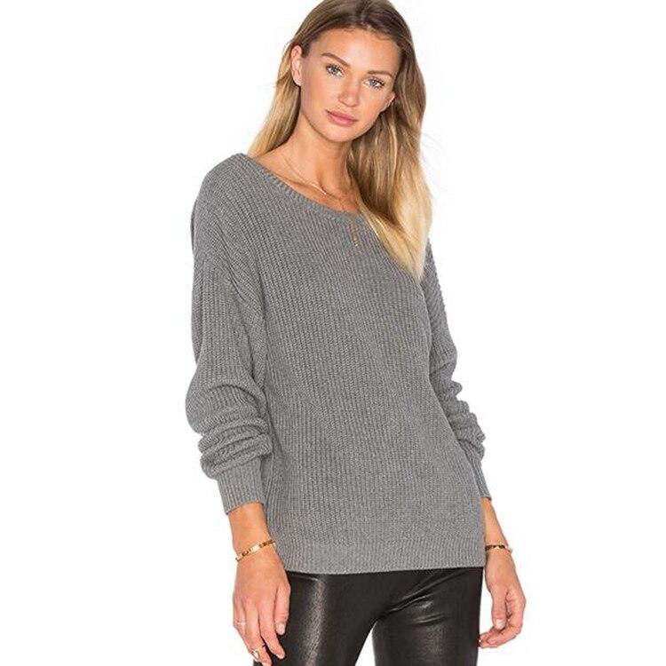 2019 nouveau automne femmes chandail o-cou à manches longues gris tricoté Sexy dos nu femmes pulls lâche chandails
