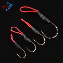 RoseWood 10pc Stainless Steel Jigging Spoon Fishing Hook With PE Line Saltwater Jig Assist Fishhook For Sea Fishing Size 1/0-5/0