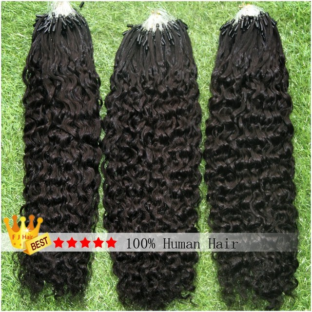 Kinky Curly Hair Micro Bbead Extensions Micro Link Hair Extensions