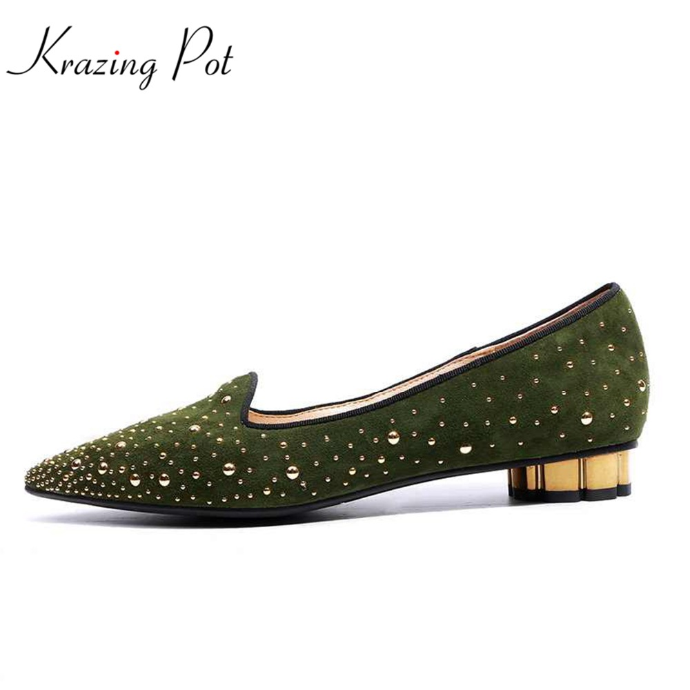 2018 fashion pointed toe women brand spring shoes low heels microfiber solid slip on women pumps rivet elegant casual shoes L16 shofoo handmade fashion women pointed toe low heels leopard pumps slip on shoes woman dress