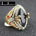 jiayi jiaduo 4 color Big  Horse eye  Jewelry Vintage Wedding Rings For Women Plating Gold Mosaic Green Crystal 2016 New Fashion