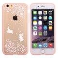 Caso bonito para o iphone 6 s 6 splus 4.7 polegada pintado flor de cerejeira flor transparente tpu caso de telefone macio para samsung galaxy s7 borda