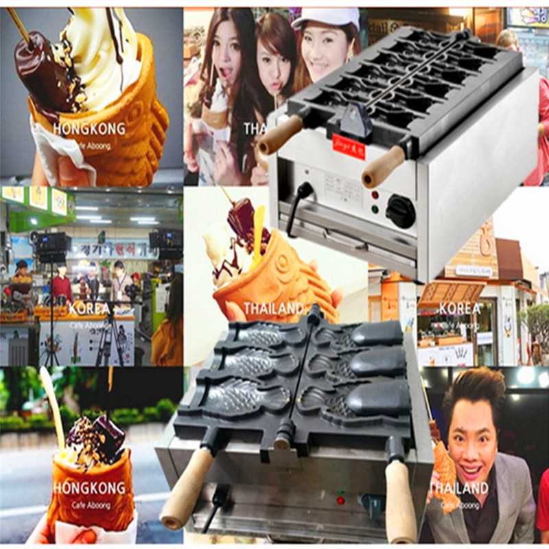 Ice cream Taiyaki waffle cake machine open mouth fish cake machine   ZF taiyaki fish maffle maker waffle ice cream machine