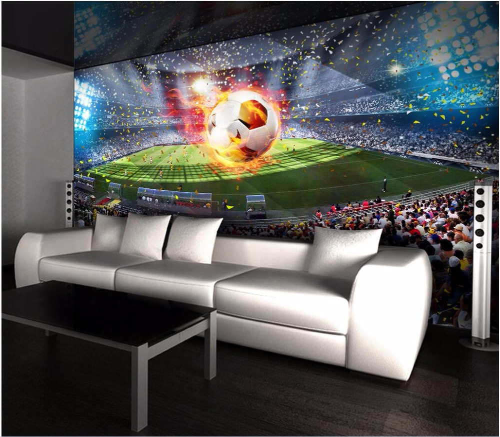 Custom mural 3d photo wallpaper picture soccer field room decor background painting 3d wall murals wallpaper for walls 3 d custom photo 3d wall murals wallpaper mountain waterfalls water decor painting picture wallpapers for walls 3 d living room