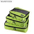 MANFITER 3 Pcs/Set Unisex Nylon Packing Cubes For Clothes Lightweight Travel Bags For Shirts Waterproof Duffle Bag Organizers