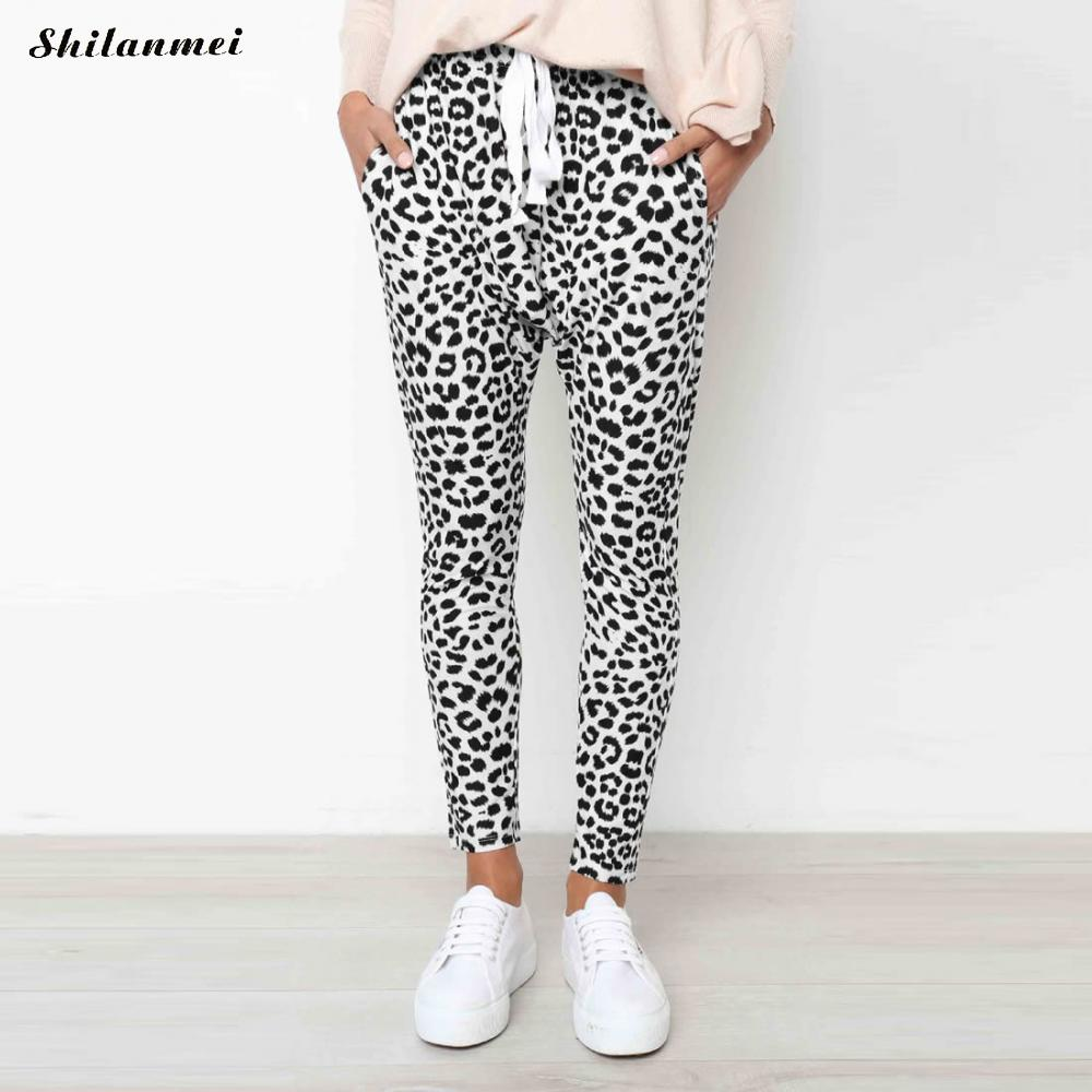 2019 New Arrival Women Sweatpant Leopard Print Pant Harem Slim Long Pant With Pocket Drawstring American Casual Female Trousers